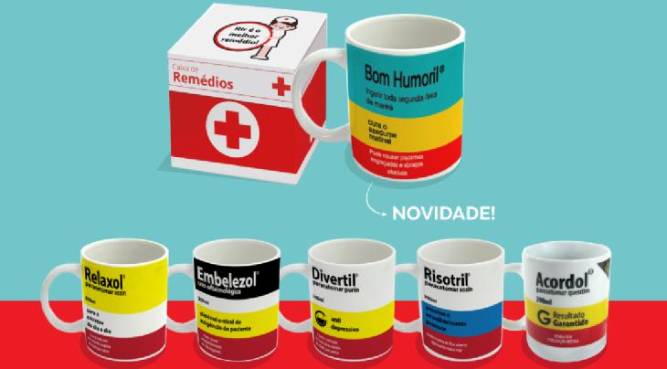 Coleção remédios faz parte de nosso mix de presentes no atacado para revenda
